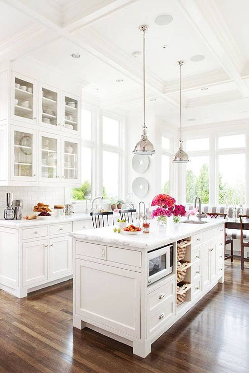 White French Country Kitchen with Marble Island