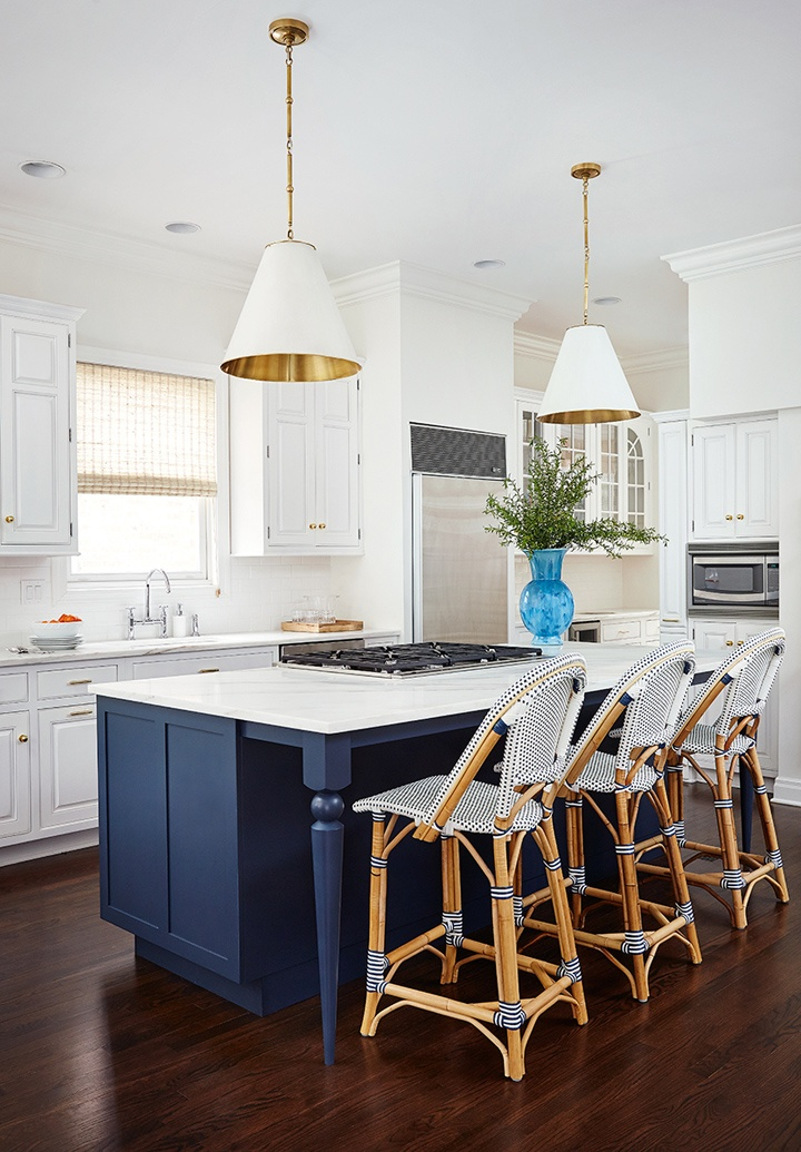 White Kitchen with Navy Blue Island and Bistro Stools