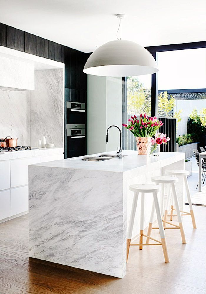 White Marble Kitchen Island