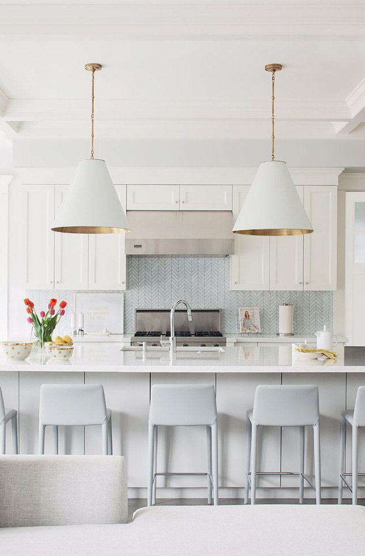 White and Grey with Gold Accents Kitchen