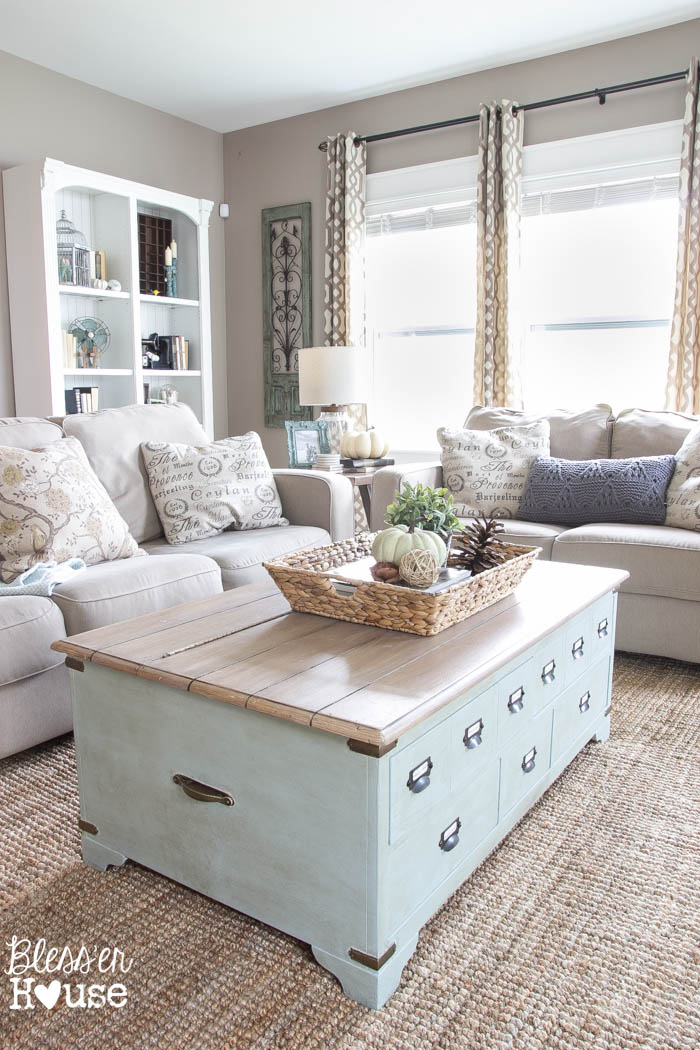 Farmhouse Living Room Ideas. 21  Light Blue Coffee Table with Internal Storage 27 Rustic Farmhouse Living Room Decor Ideas for Your Home Homelovr