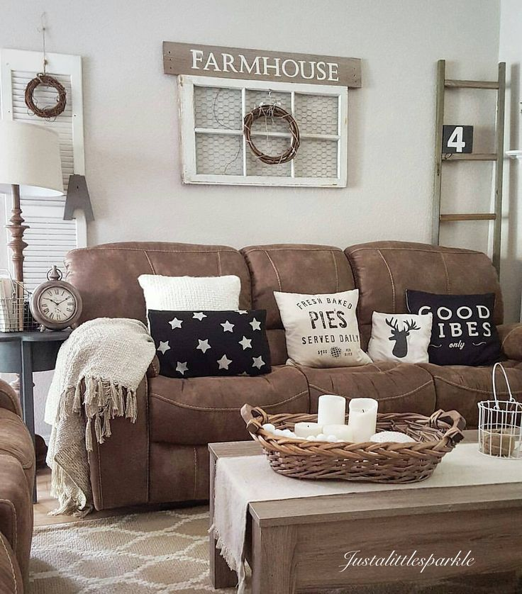 Living Room Decorating Ideas With Brown Leather Sofa 27 rustic farmhouse living room decor ideas for your home - homelovr