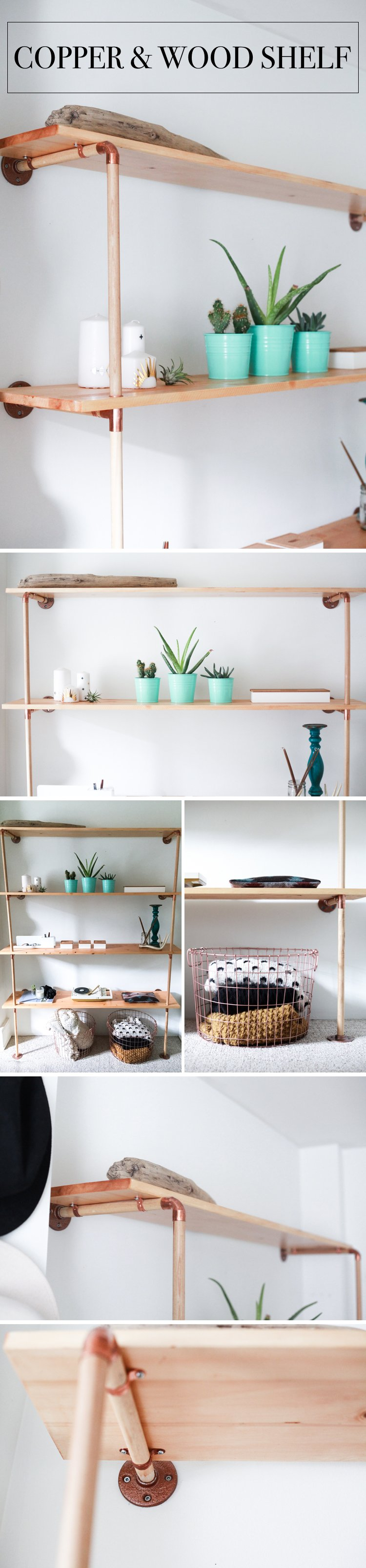 Copper and Wood Shelves