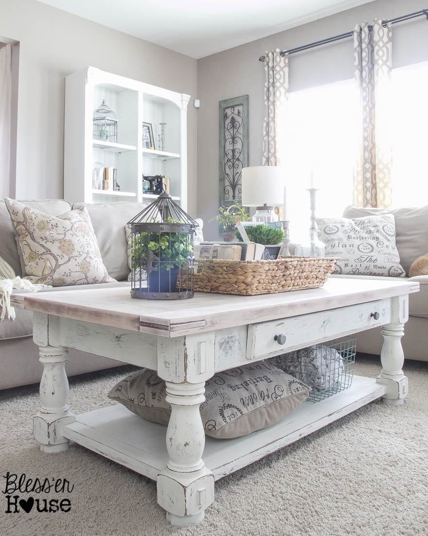 chippy white lime finished coffee table with plenty of modern farmhouse charm - Modern Farmhouse Living Room