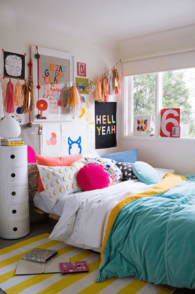 Colorful Teen Girlu0027s Bedroom Awesome Design