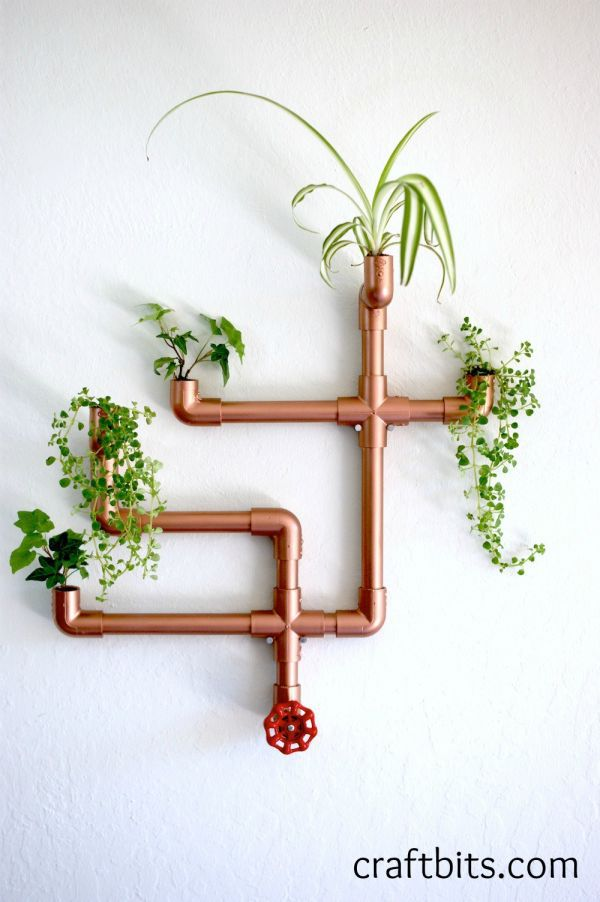 Copper PVC Pipe Wall Planter