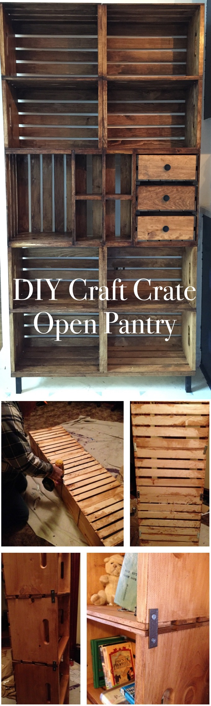DIY Craft Crate Open Pantry
