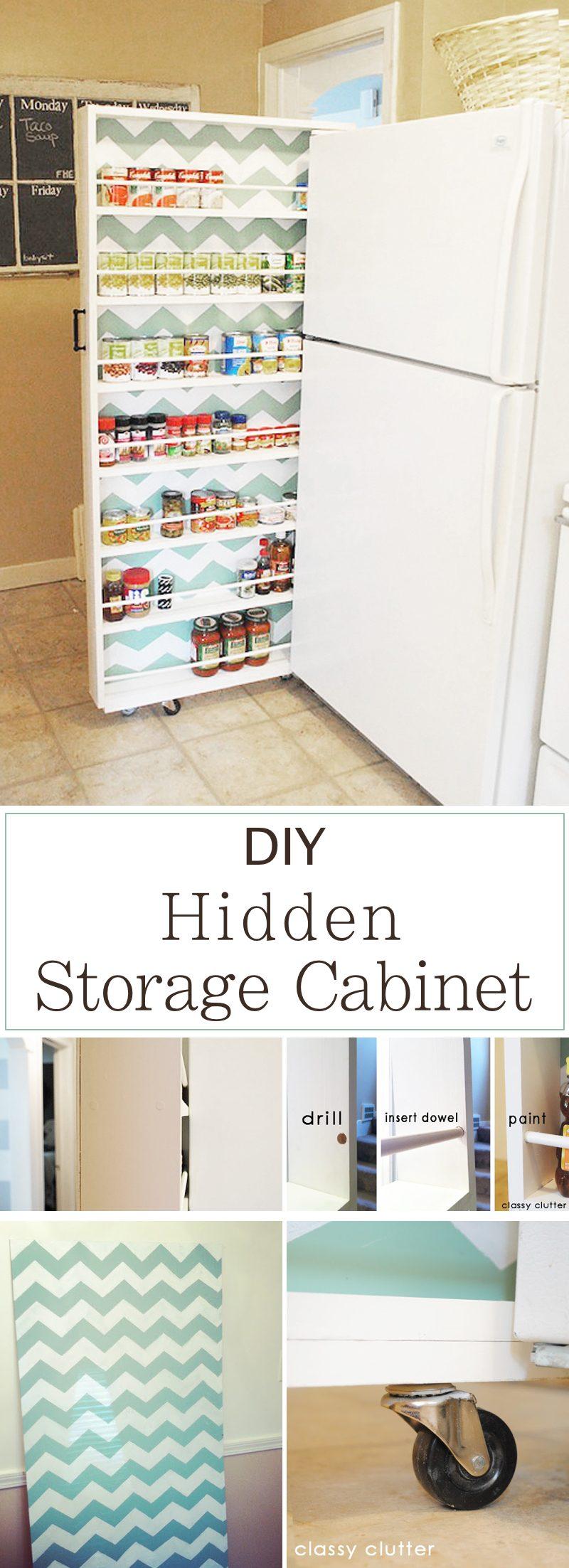15 innovative diy kitchen organization storage ideas for Diy hidden storage