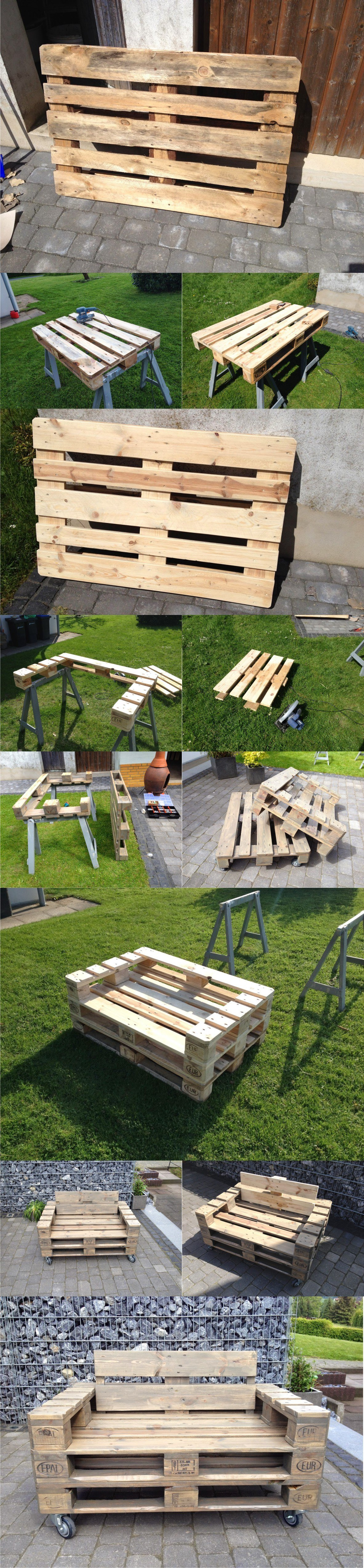 15 best diy outdoor pallet furniture ideas homelovr for Sofa de palets exterior