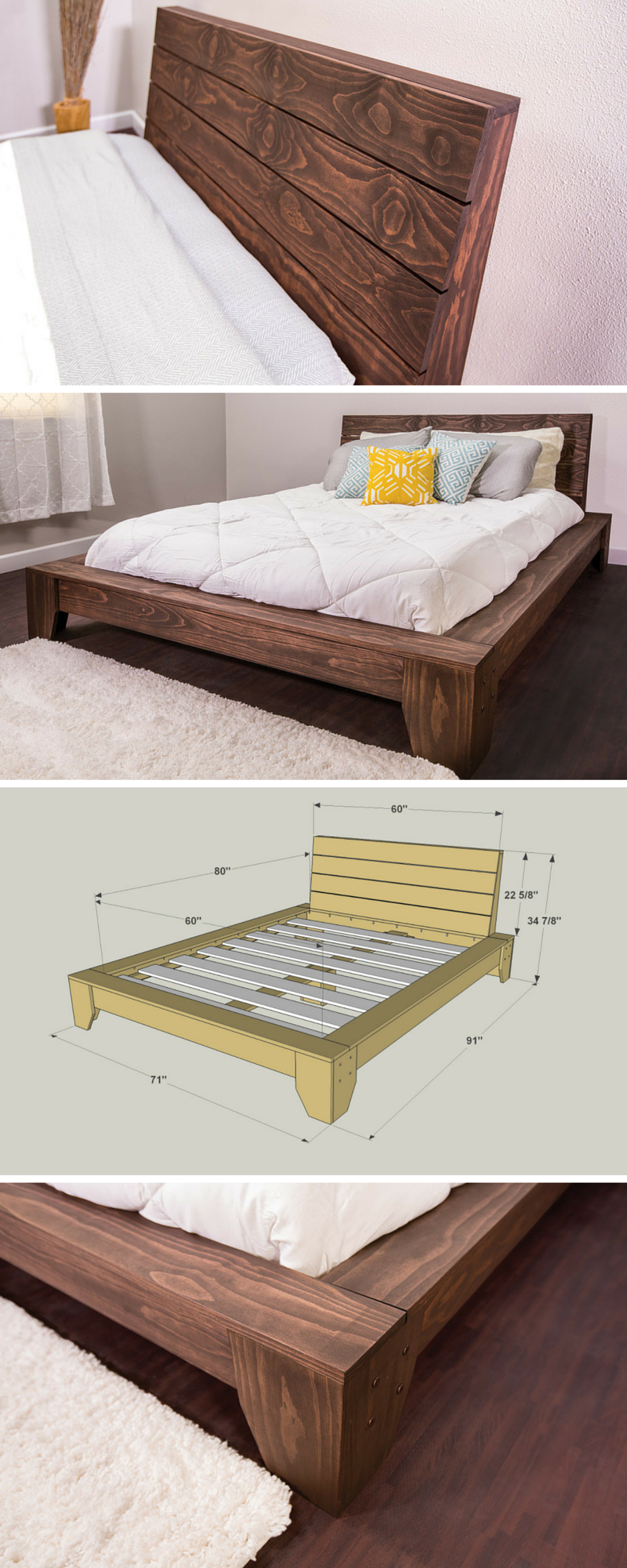 36 easy diy bed frame projects to upgrade your bedroom - Cool queen bed frames ...