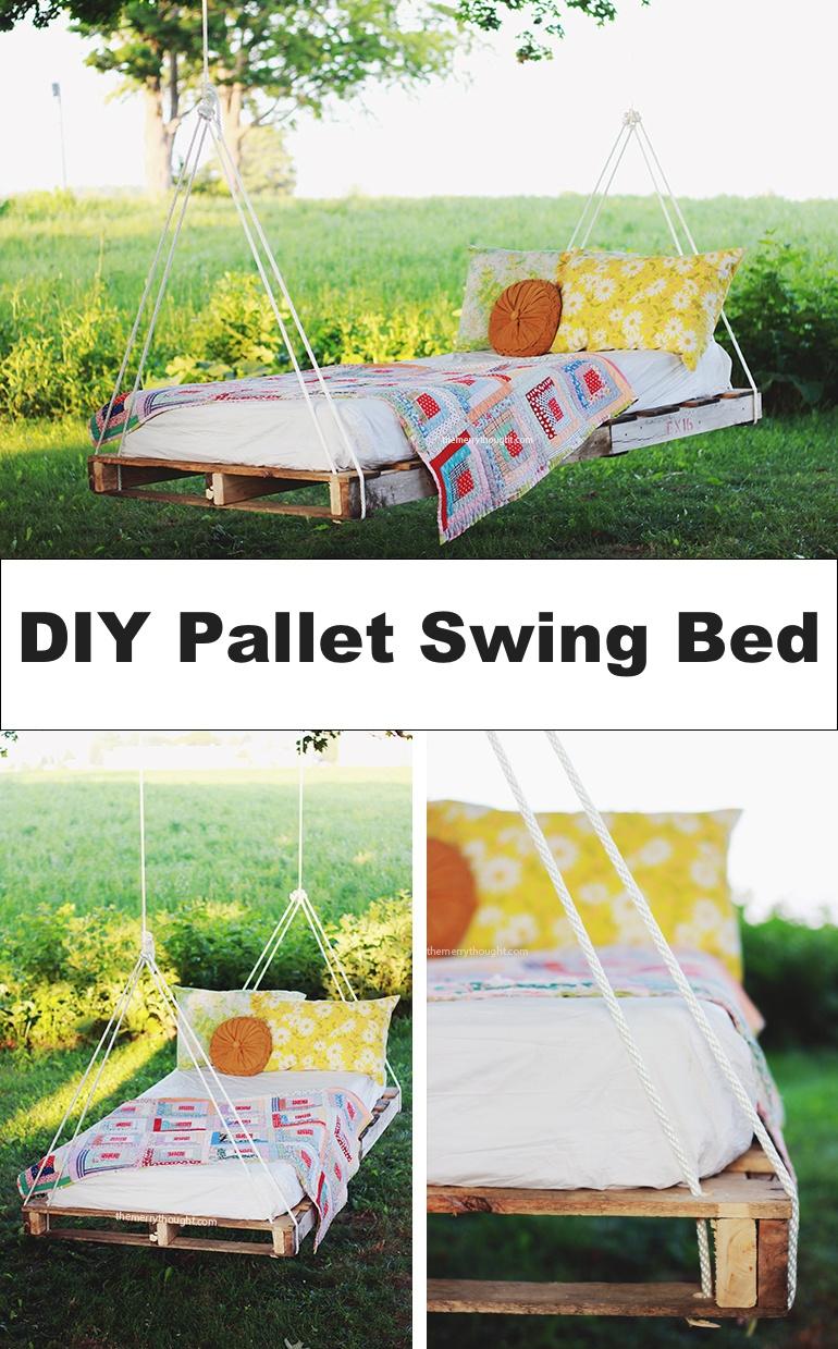 15 best diy outdoor pallet furniture ideas homelovr for Outdoor pallet swing bed