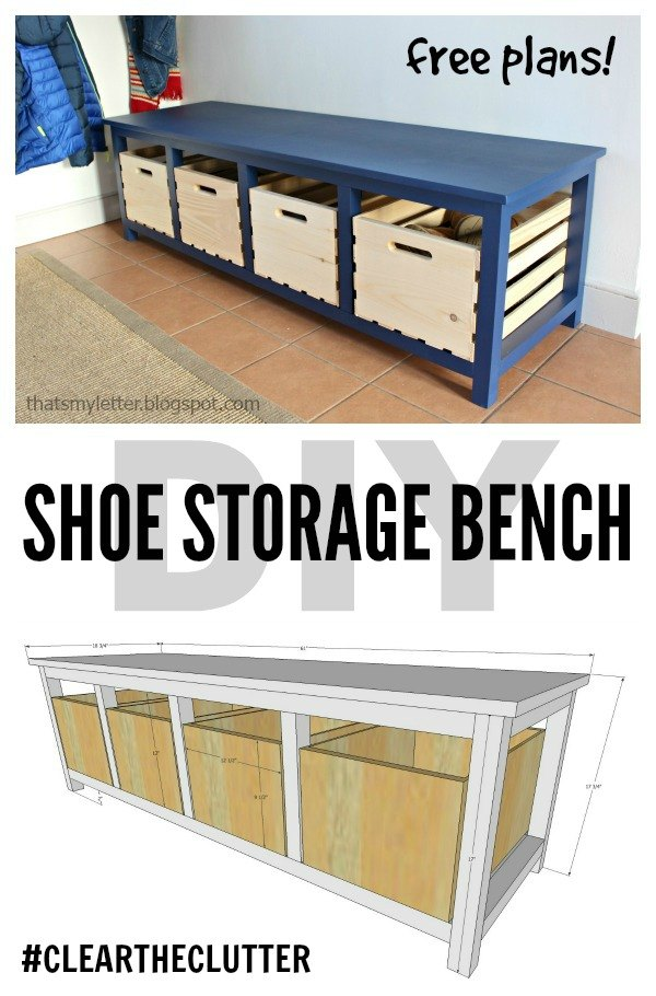 DIY Shoe Storage Bench from Crates