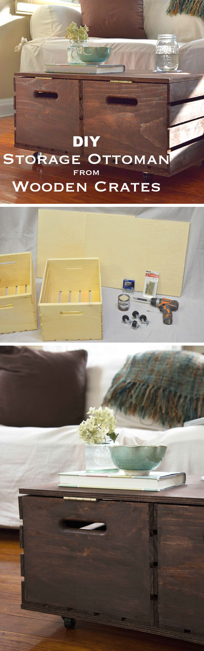 DIY Storage Ottoman Made from Wooden Crates