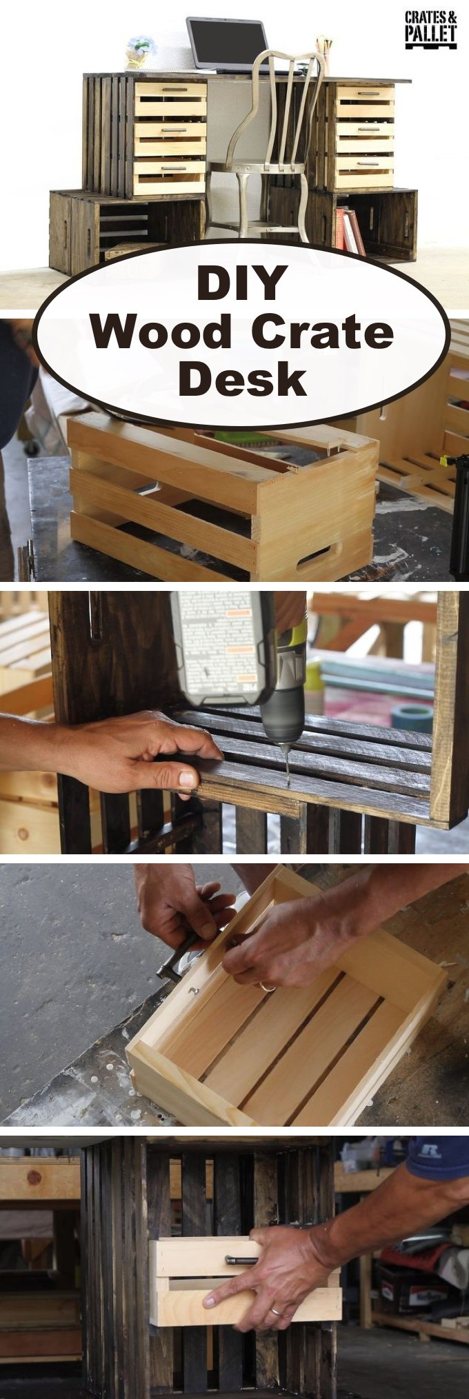 DIY Wood Crate Desk
