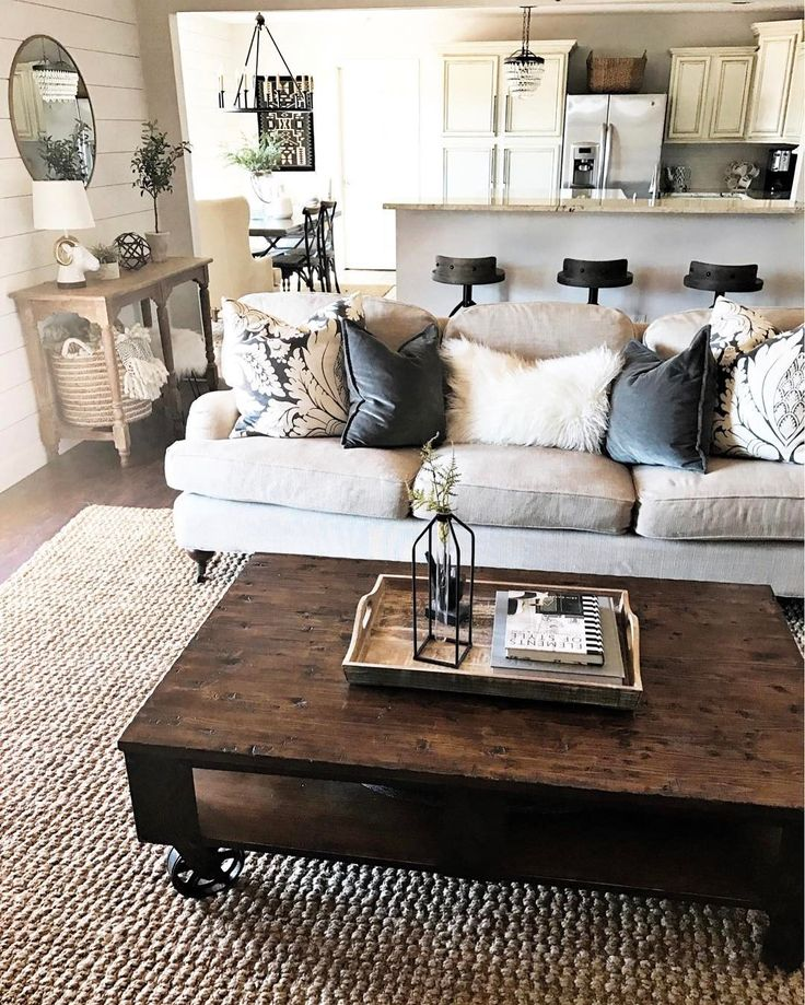 Farmhouse Style Living Room With Cozy Pillows