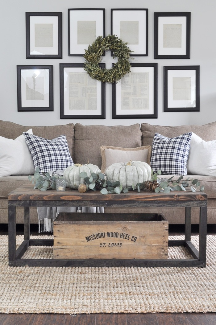 farmhouse style living room with fall decorating touches - Farmhouse Living Room Furniture