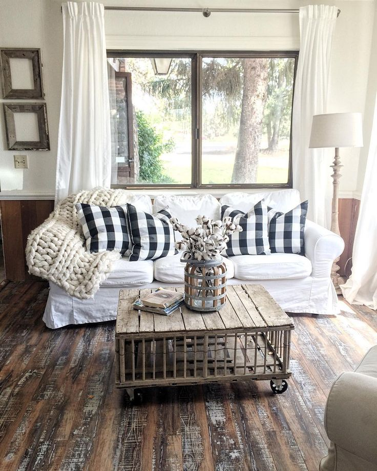 27 Rustic Farmhouse Living Room Decor Ideas for Your Home ... on Curtains For Farmhouse Living Room  id=63042