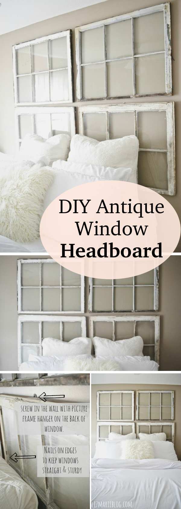 DIY Antique Window Headboard & 17 Brilliant Ways to Repurpose Old Windows - Homelovr Pezcame.Com
