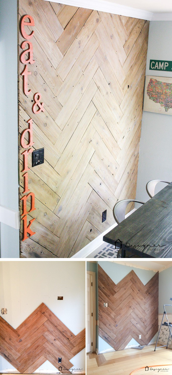 DIY Herringbone Plank Wall
