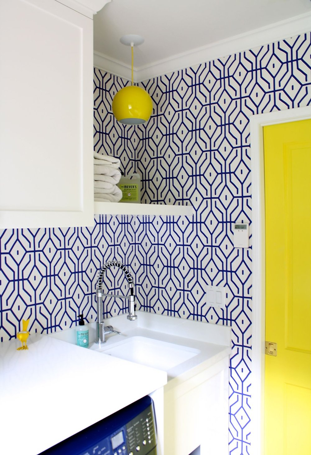 Blue & Yellow Laundry Room