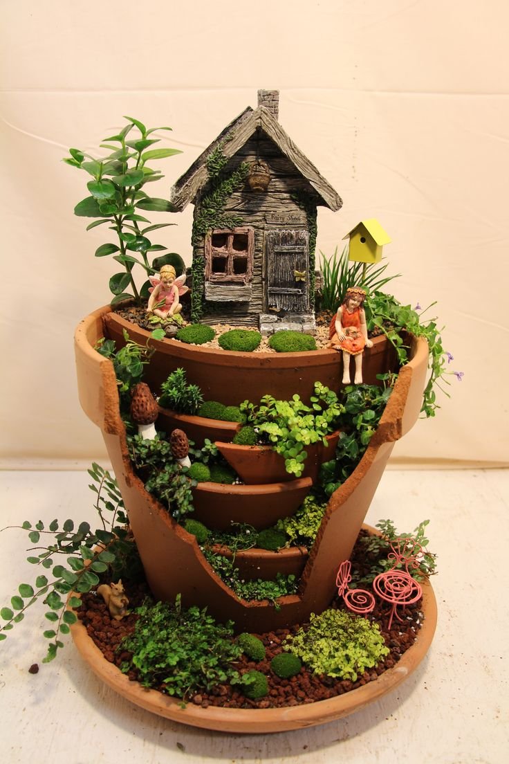 broken pot fairy garden - Diy Fairy Garden Ideas