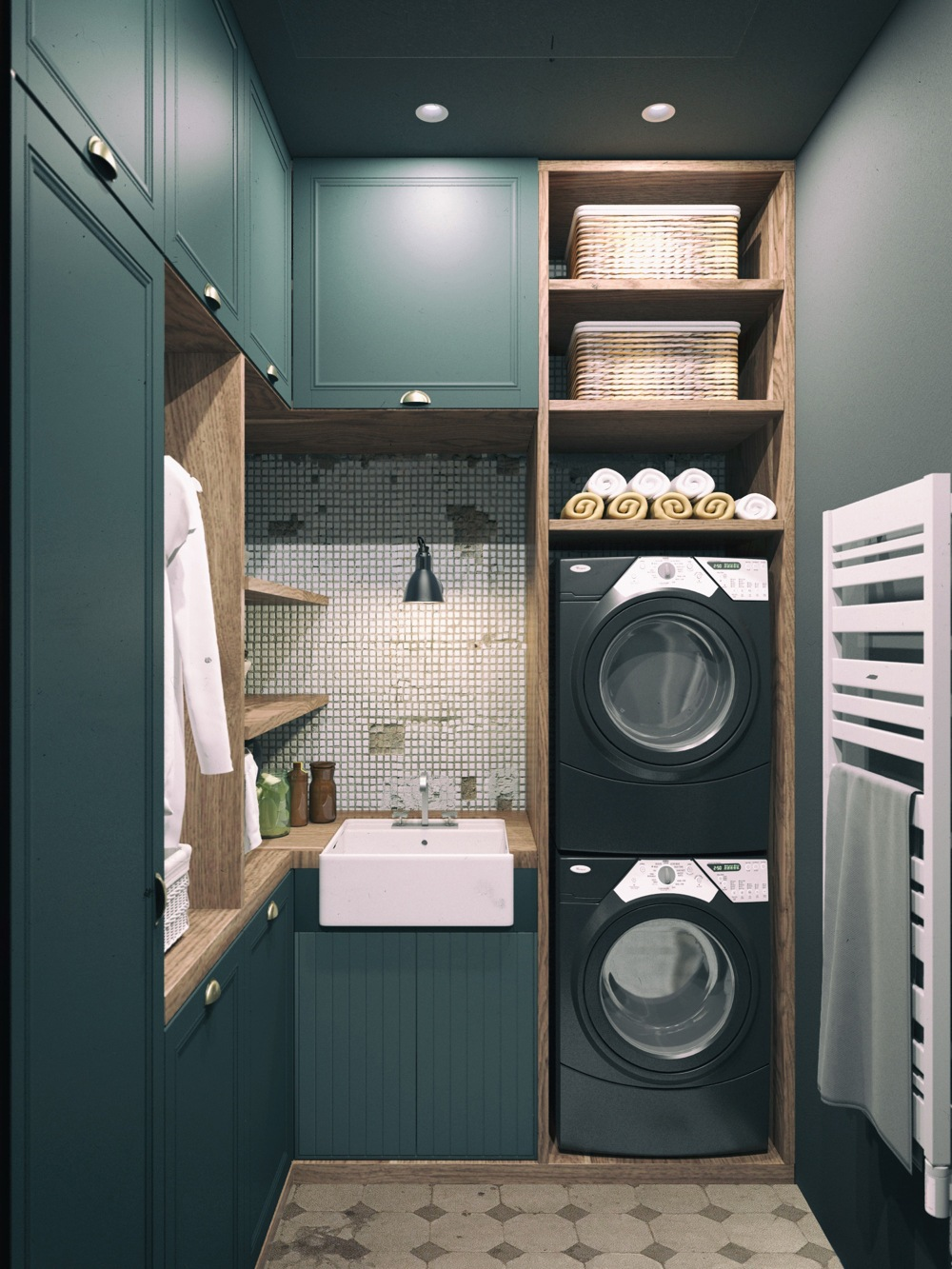 Dark Green Laundry Room