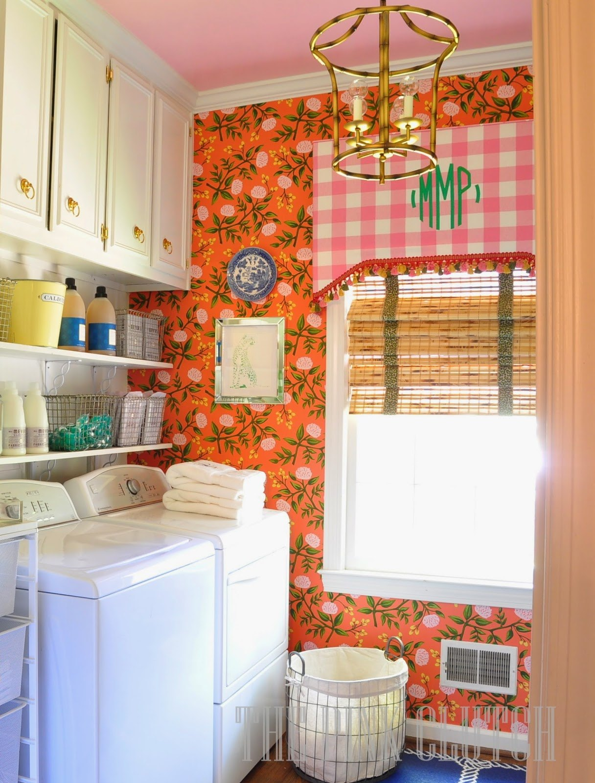 Laundry Room with Beautiful Wallpaper Accent