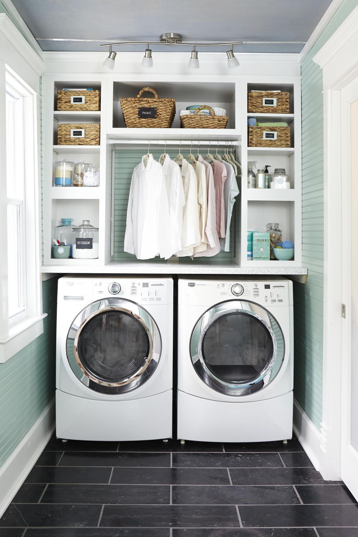Laundry Room with Green Accent Wall