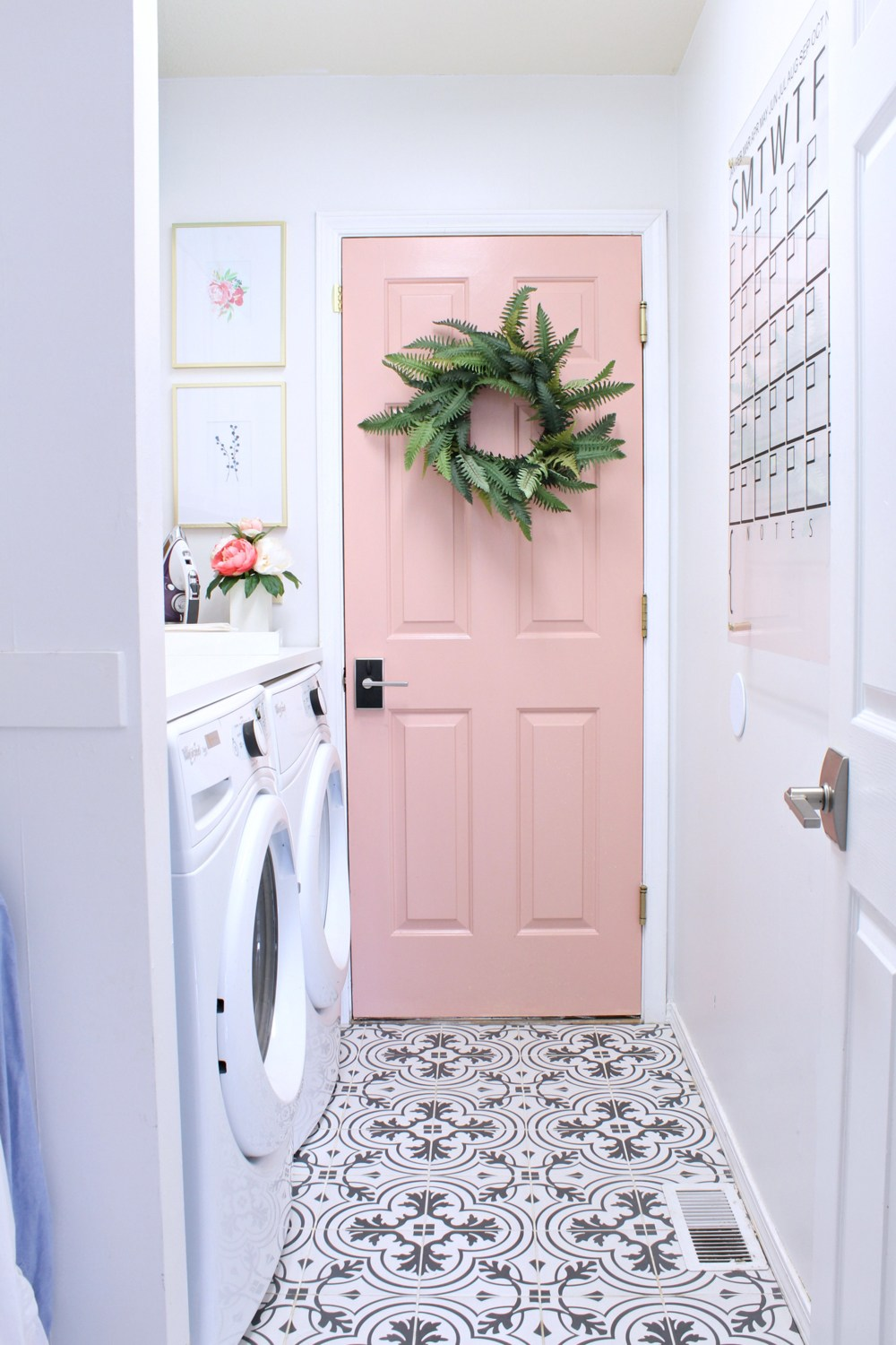 Laundry Room with Pink Door