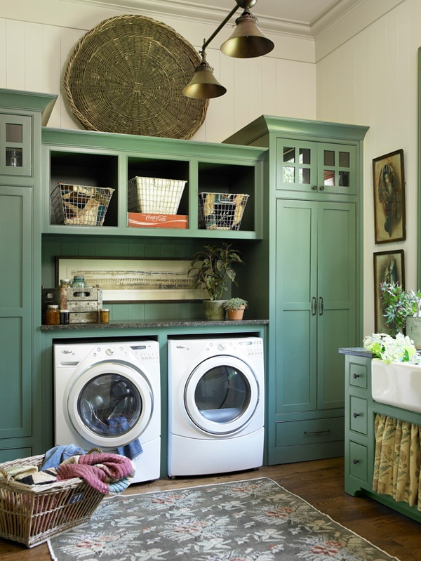 Rustic Green Laundry Room