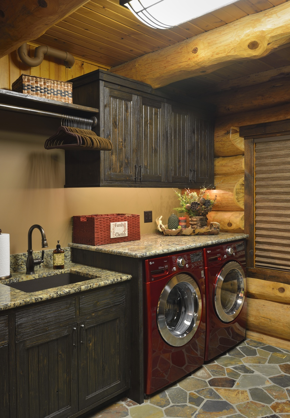 Rustic Log Laundry Room