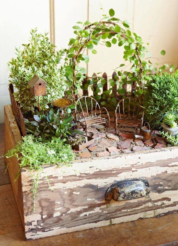 wooden box fairy garden