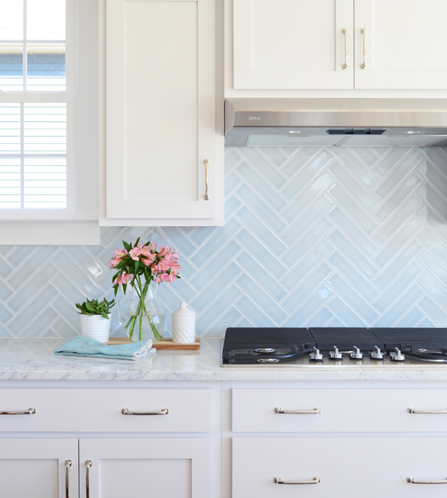 Blue Herringbone Backsplash