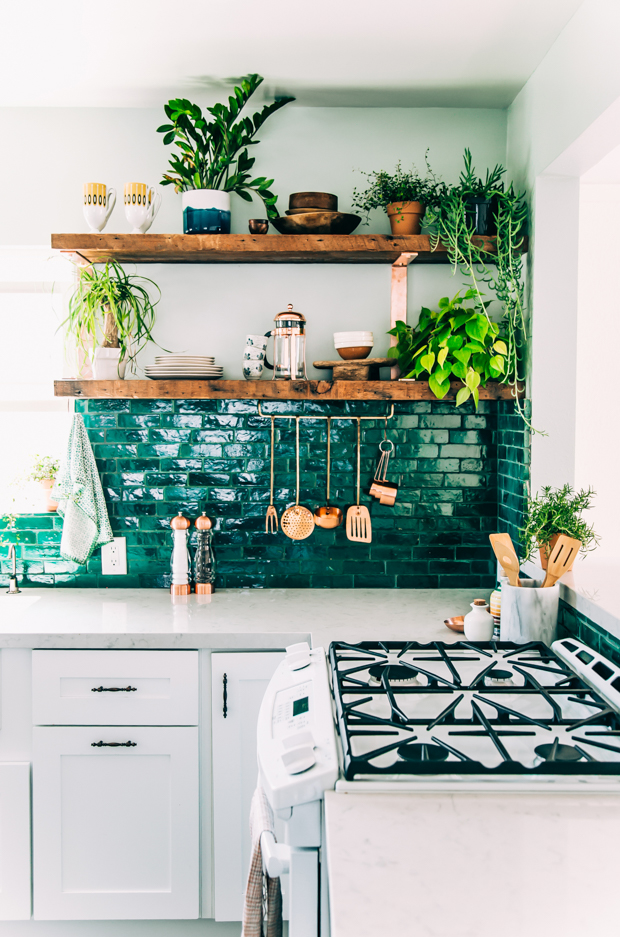 Boho Kitchen with Green Tiles