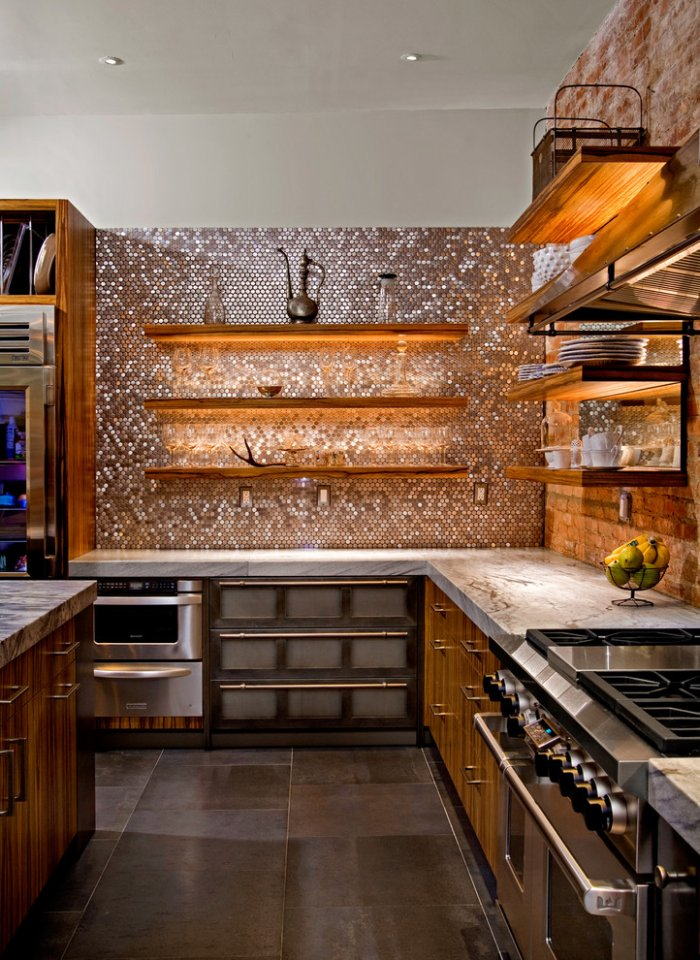 Contemporary Kitchen with Penny Tiles