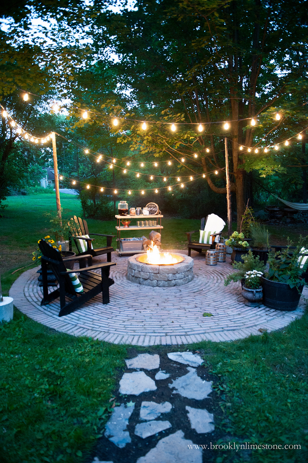 Cozy Outdoor Fire Pit And String Lights