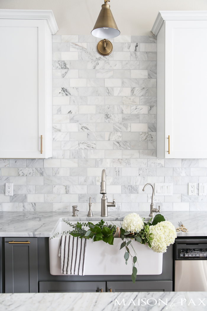 Gray and White Kitchen with Marble Backsplash