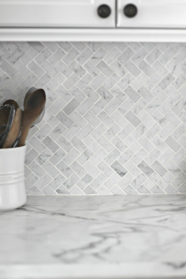 Grey Herringbone Backsplash
