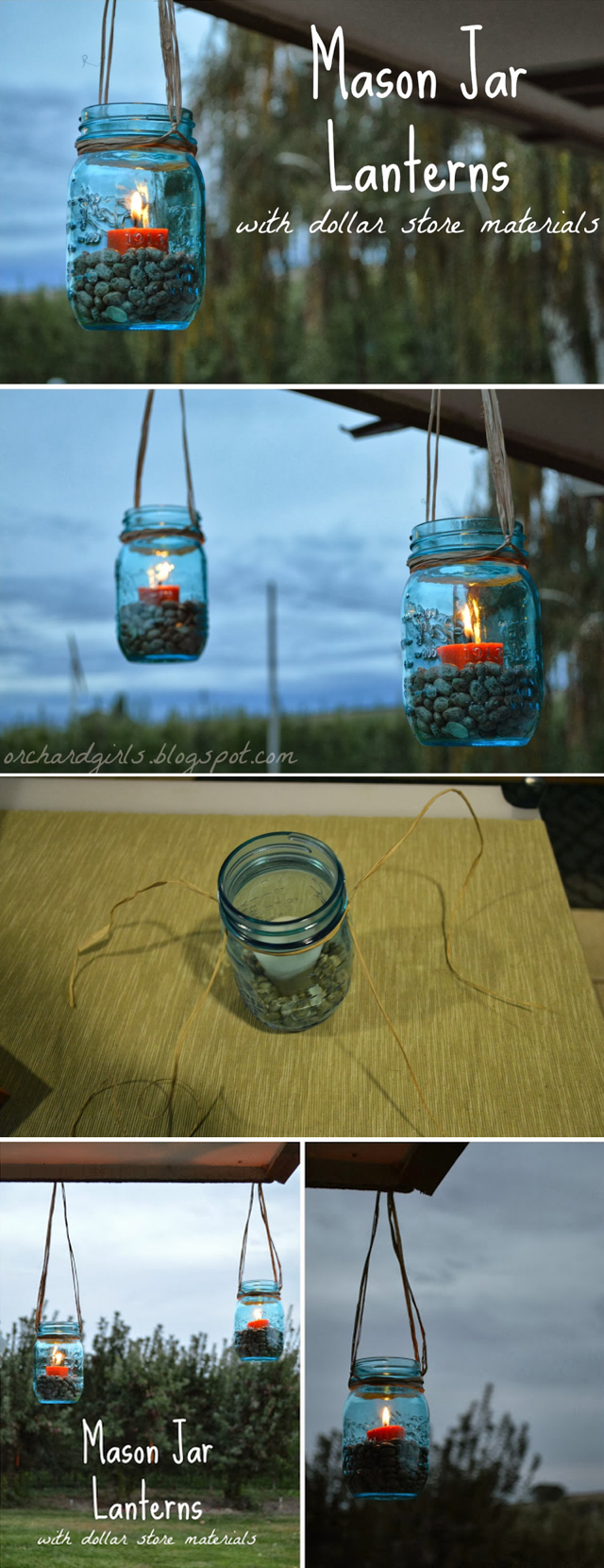 Mason Jar Lanterns with Dollar Store Materials