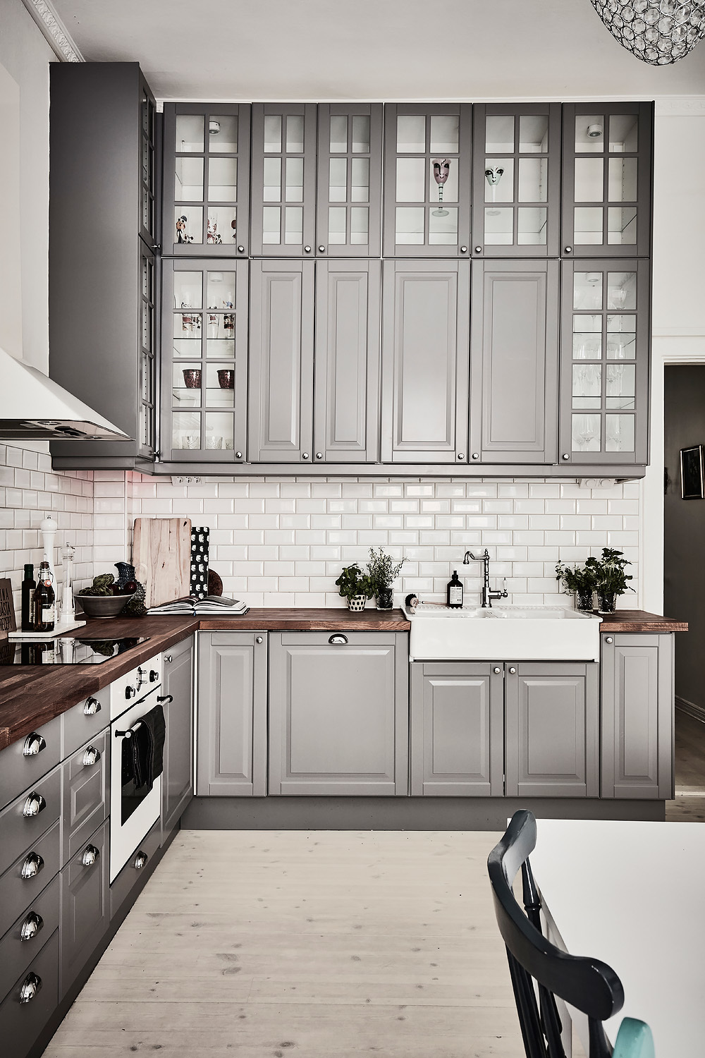 gray kitchen cabinets and white subway tiles - Kitchen Cabinet Ideas