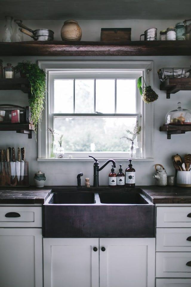 Open Wood Shelves Kitchen