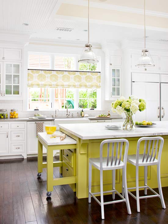 White Kitchen Cabinets And Yellow Island