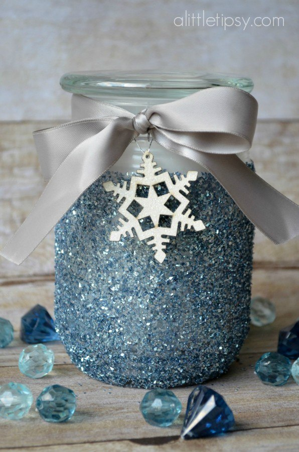 DIY Glitter Candle with a Winter Spin