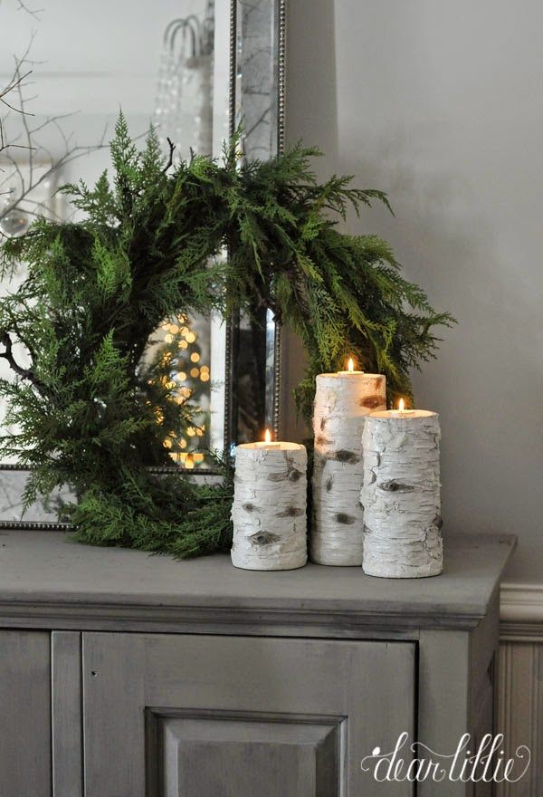 Christmas decorations with birch logs for Artificial logs for decoration