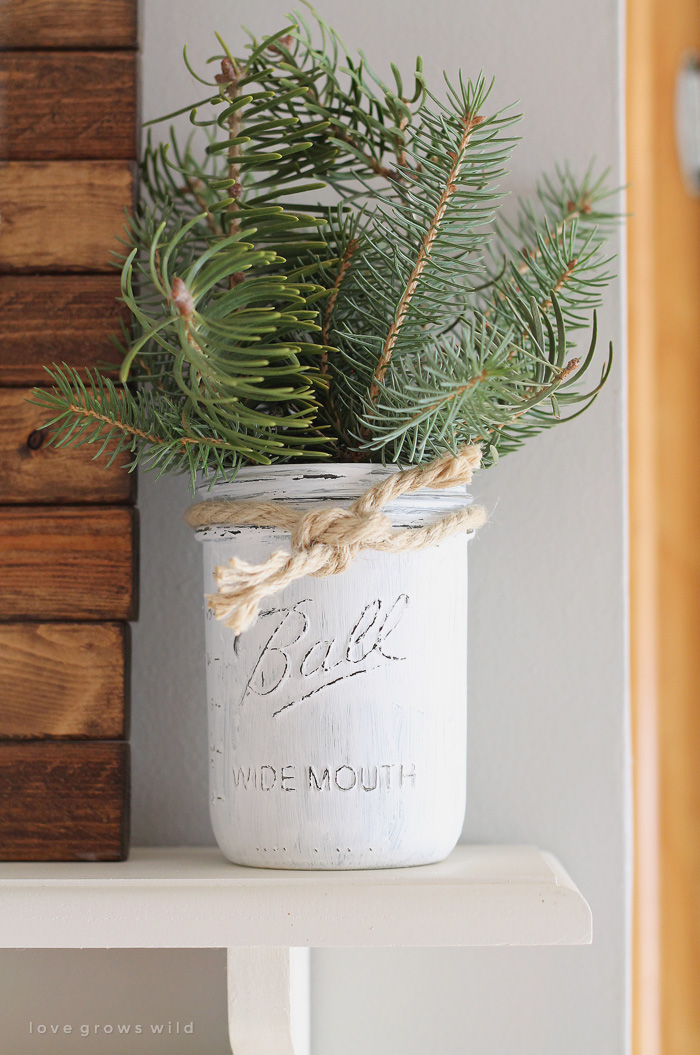 Mason Jar Christmas Shelving Decor