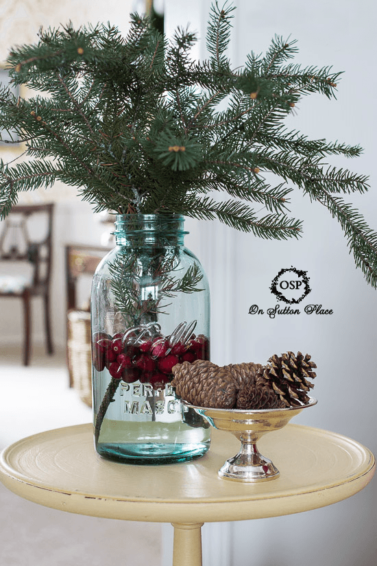 Mason Jar Vignette With Cranberries