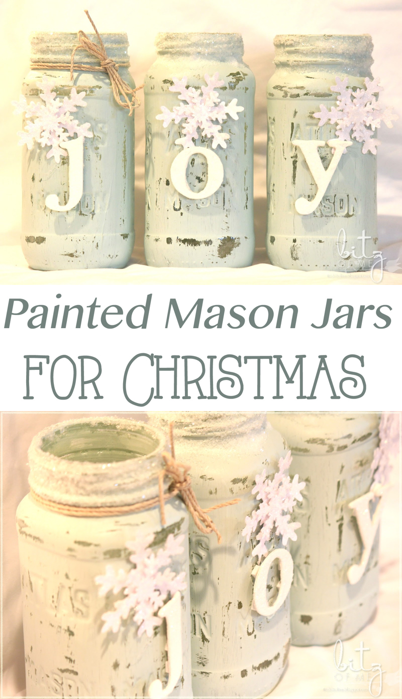 Painted Snowy Mason Jars