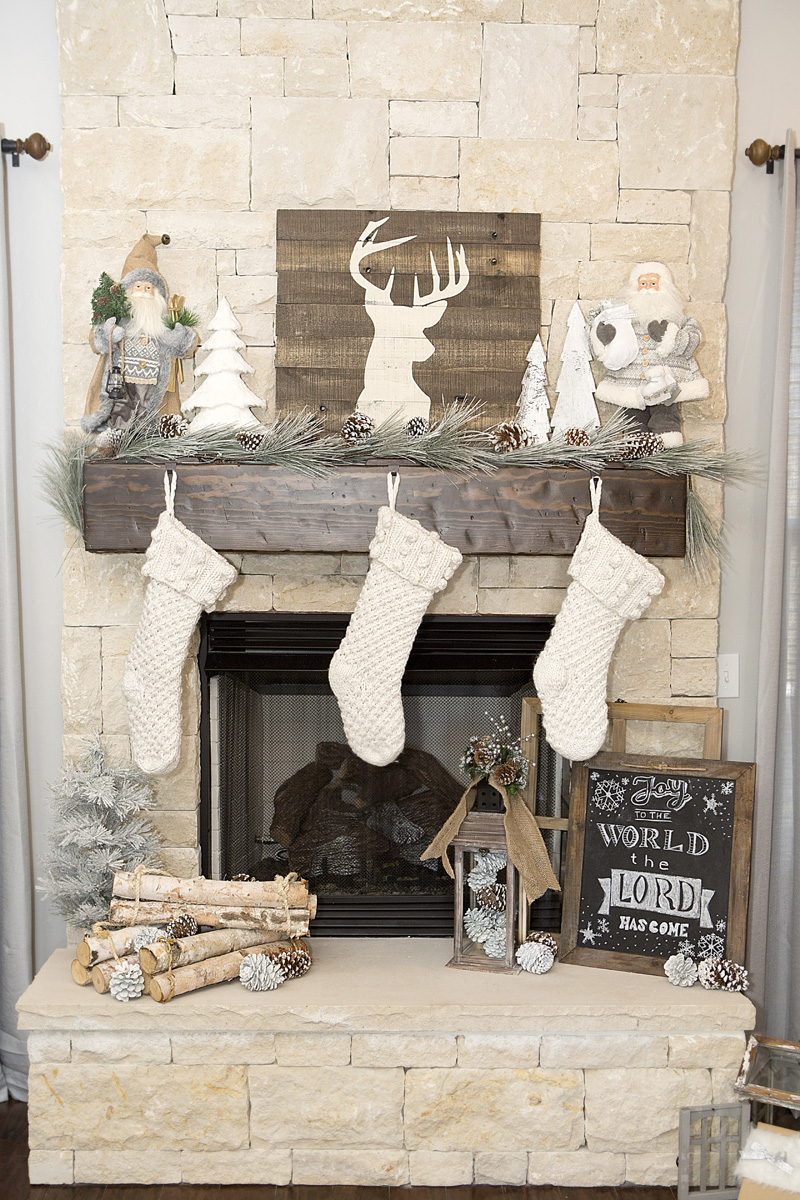 rustic farmhouse christmas mantel tree decor - Farmhouse Christmas Decorating Ideas
