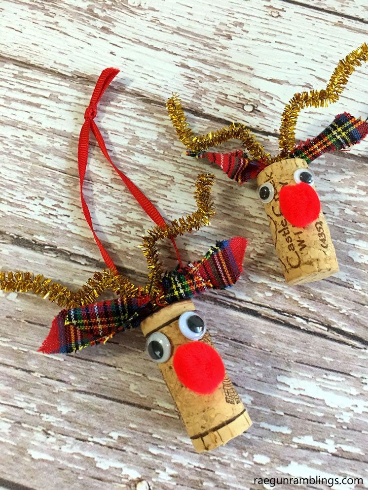 rudolf wine cork reindeer ornament