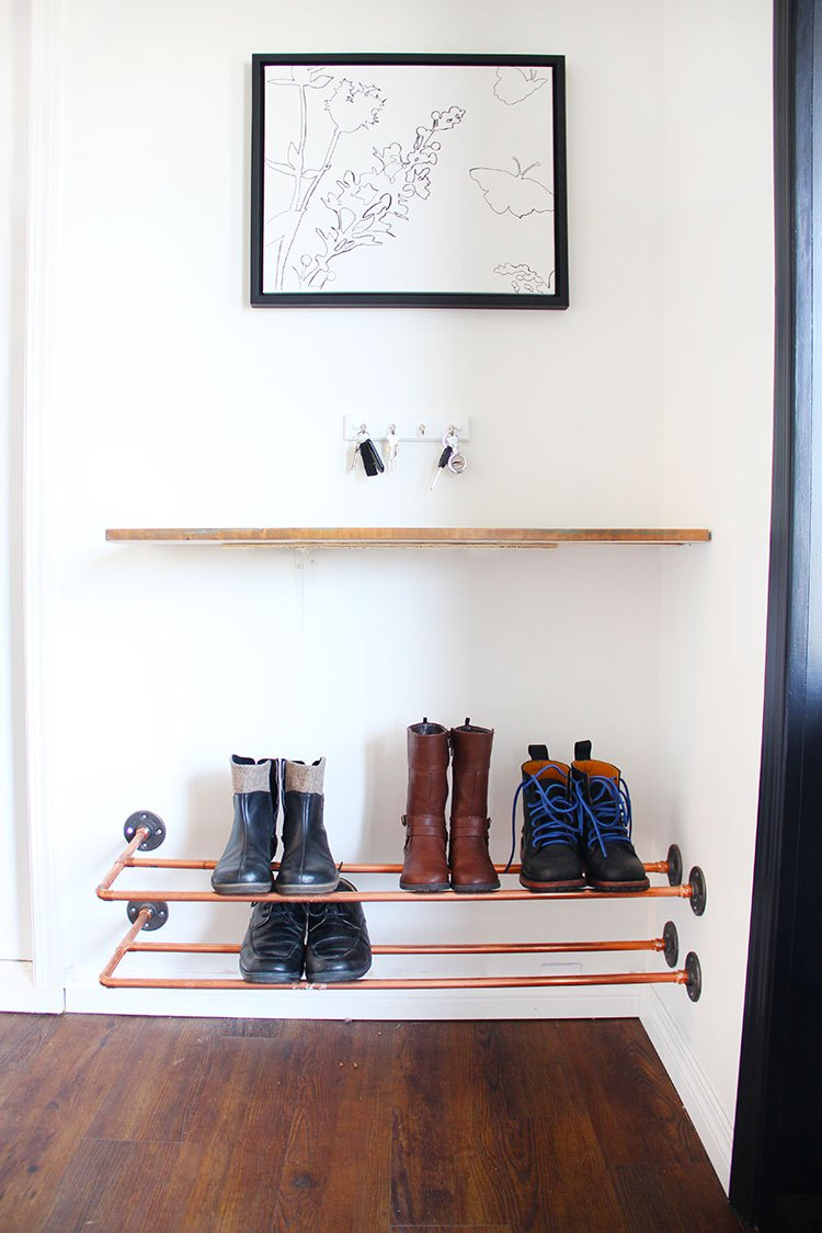 Copper Pipe Shoe Rack